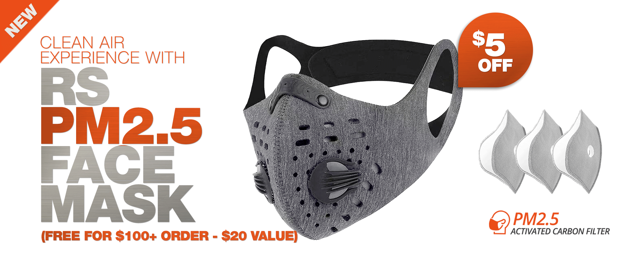 RS PM2.5 Face Mask - $5 OFF (FREE FOR $100+ ORDER - $20 value)